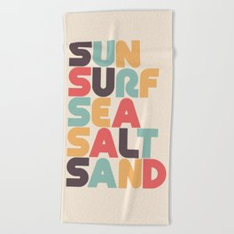 Retro Sun Surf Sea Salt Sand Typography Beach Towel