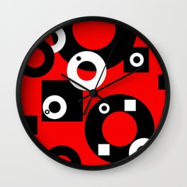 Black white Rings red background Wall Clock