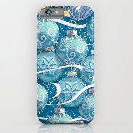 Festive Christmas | Teal + Aqua iPhone Case