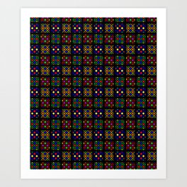 Kente Cloth Ankara Stained Glass Pattern Art Print