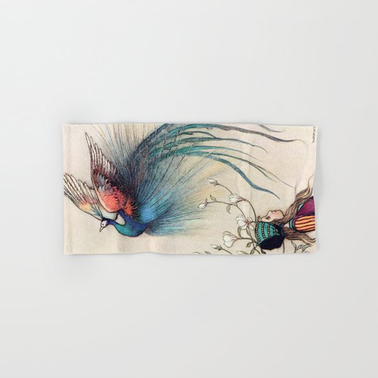 Beautiful Bird with a Little Girl Hand & Bath Towel