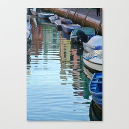 Burano Canal Reflections Canvas Print