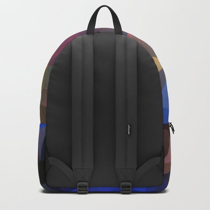 Polygon geometric abstract pattern in yellow blue and brown colors . Backpack
