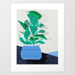 Ditz - house plant art neon pattern texture inky memphis style throwback 1980s 80s retro vintage  Art Print