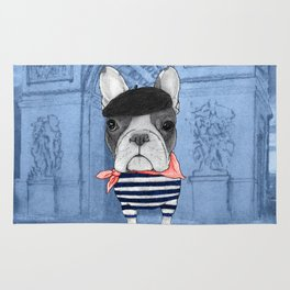 Frenchie with Arc de Triomphe Rug