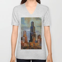 Sears Tower Unisex V-Neck