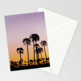 Beautiful landscape with silhouette palm trees during sunset Stationery Cards