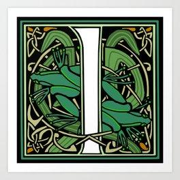Celt Nouveau Frog Letter I 2018 Art Print