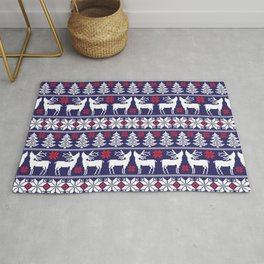 Vintage nodric knitted christmas pattern with reindeer, snowflakes. Xmas cozy blue illustration pattern. Rug