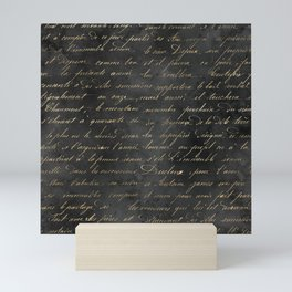 Vintage Black & Gold Script  Mini Art Print