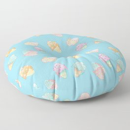 Pastel Melted Ice Cream (Blue) Floor Pillow