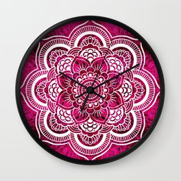 Mandala Hot Pink Colorburst Wall Clock