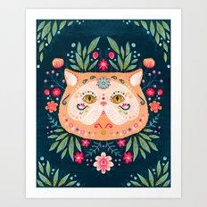 Candied Sugar Skull Kitty Art Print