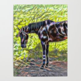 Abstract horse standing in paddock Poster