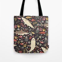 monika strigel Tote Bags featuring Oceanica by Anna Deegan