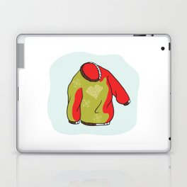 Nordic Christmas Jumper Vector Clipart. Hand Drawn Embroidered Heart Ugly Sweater Laptop & iPad Skin