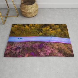 the purple road in the forest Rug