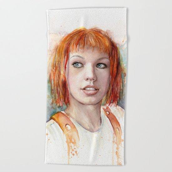 Leeloo Portrait Fifth Element Art Beach Towel