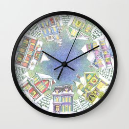 Victorian Snow Houses Wall Clock