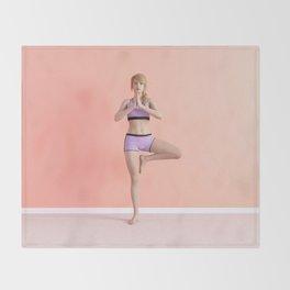 Tree Yoga Pose Female Woman Demonstration Concept Throw Blanket