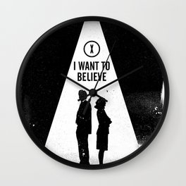 Black Brush - X I want to believe Files Wall Clock