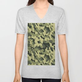 Green Tan Black Camouflage Pattern Texture Background Unisex V-Neck