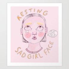 Resting Sad Girl Face Art Print