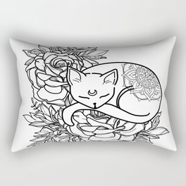 Black and White Line Art Flower Cat Rectangular Pillow