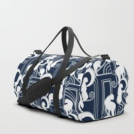 Deco Gatsby Panthers // navy and silver Duffle Bag