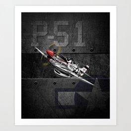 WW-II Warbird P-51 Mustang Airplane Cartoon Art Print