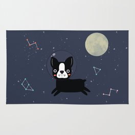 Boston Terrier In Space Rug