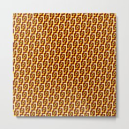 Angle Weave Red & Gold Metal Print