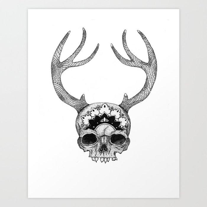 Mandala Skull With Gorgeous Antlers Art Print