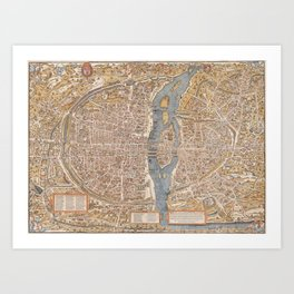 Vintage Map of Paris (1550) Art Print