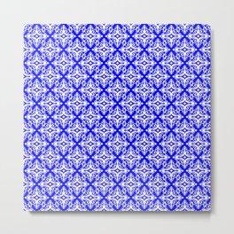 Damask (White & Blue Pattern) Metal Print