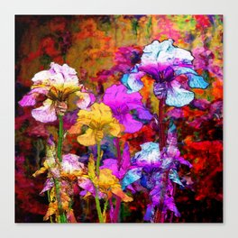 Yellow & Violet Purple Fantasy Iris  Painting Canvas Print