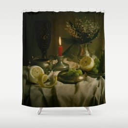 Still life with metal pots and fruits Shower Curtain