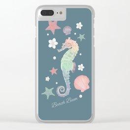 Beach Bum Seahorse Design(teal) Clear iPhone Case