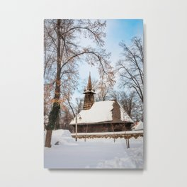 Winter Wonderland at the Village Museum in Bucharest Metal Print