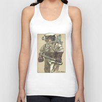 saxophone Tank Tops featuring Space Cat with Saxophone by Felis Simha
