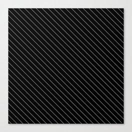 Minimal Diagonal Black and White Stripes Canvas Print