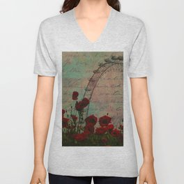 Poppies and Pink Skies Unisex V-Neck