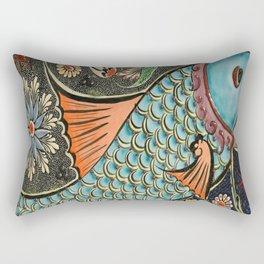 bohemian folk art orange aqua blue japanese good luck koi fish Rectangular Pillow