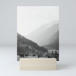 Grazing cattle, Kashmir, India Mini Art Print