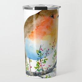Watercolor Robin on Berry Branch Travel Mug