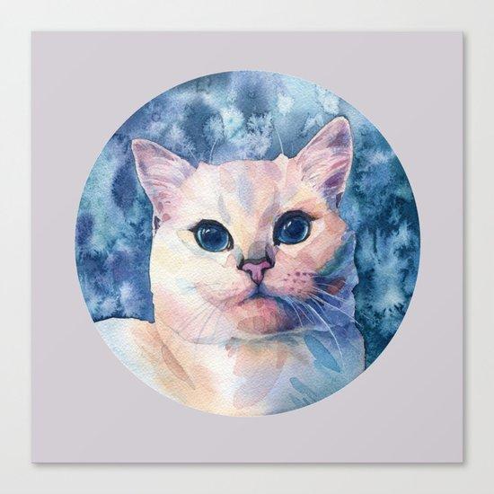 """White cat"" Canvas Print"
