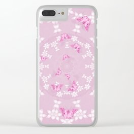 Pretty pink butterflies on flower mandala Clear iPhone Case