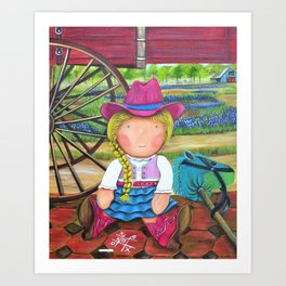"Mia the ""Cowgirl"",Girl room Fine Art Print,Giclee Print,whimsical cowgirl, cowgirl, Mia collection Art Print"