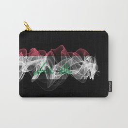 Iraq Smoke Flag on Black Background, Iraq flag Carry-All Pouch