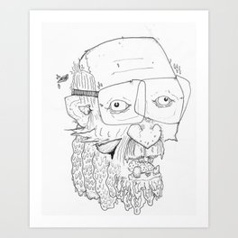 GRANDPA KISSES Art Print